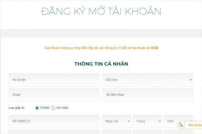 đăng ký mở thẻ ngân hàng online