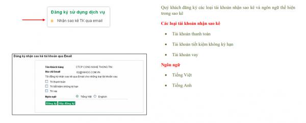 cách sao kê tài khoản ngân hàng Vietcombank