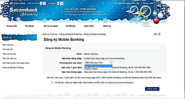 đăng ký và sử dụng internet banking Sacombank