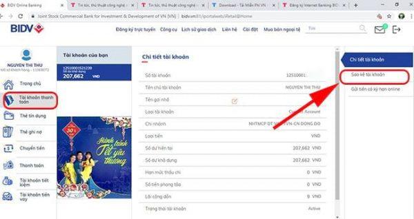 Cách sao kê tài khoản ngân hàng BIDV