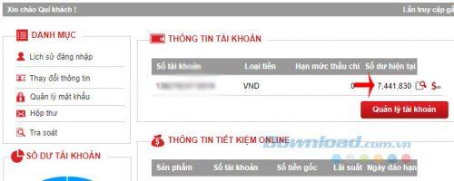 Kiểm tra số dư tài khoản ngân hàng Kỹ Thương Techcombank