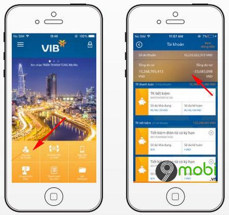 kiểm tra số dư tài khoản ngân hàng VIB qua myVIB