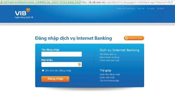 Kiểm tra số dư tài khoản ngân hàng VIB qua Internet Banking
