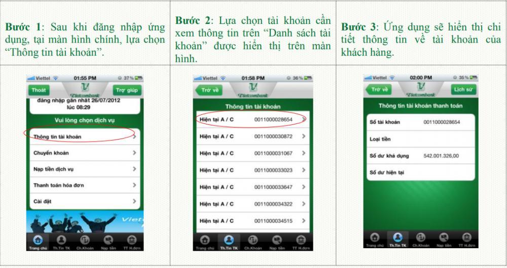 Tra cứu tài khoản Vietcombank qua VCB - Mobile B@nking