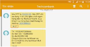 Kiểm tra số tài khoản Techcombank qua SMS Banking