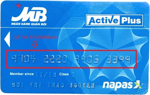 Số thẻ ATM được in nổi ngay trên tấm thẻ ATM MBBank của bạn