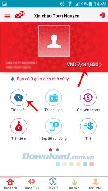 Cách tra cứu số dư techcombank-f@st-mobile