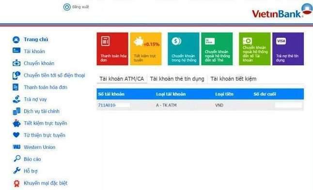 Tra cứu số dư Vietinbank qua Internet Banking