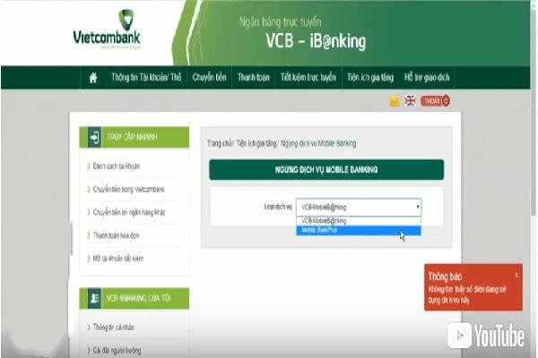 cách hủy dịch vụ bank plus vietcombank