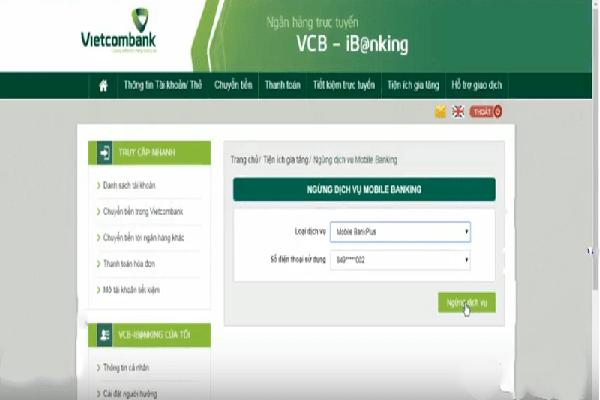 Ngưng sử dụng dịch vụ Bank Plus của Vietcombank