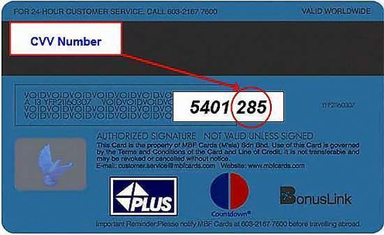 Mã CVV của thẻ Visa