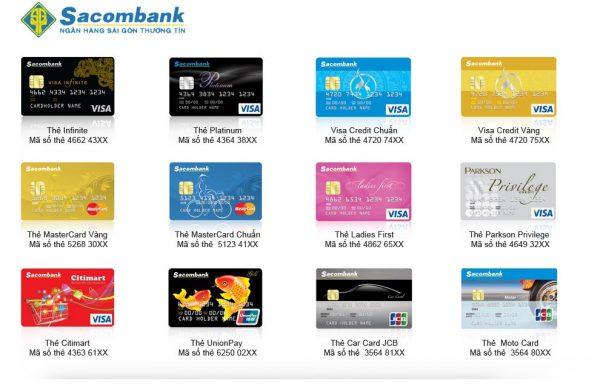Các loại thẻ tín dụng ngân hàng Sacombank