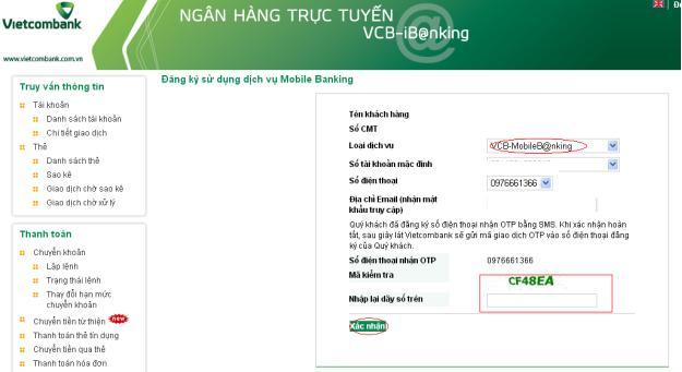 cách đăng kí Mobile Banking Vietcombank