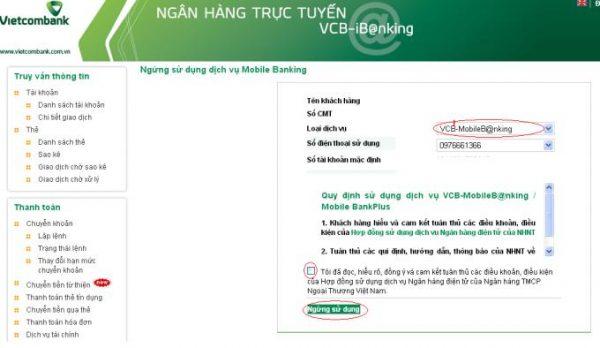 Cách hủy Mobile banking ngân hàng Vietcombank