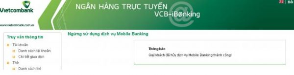Hủy dịch vụ Mobile Banking Vietcombank