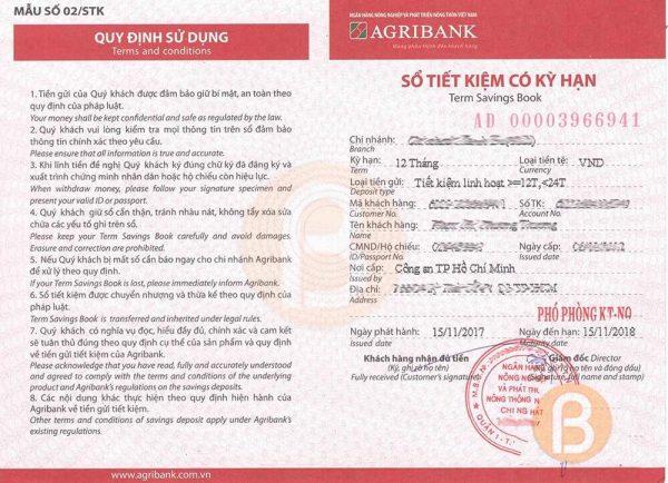 Sổ tiết kiệm ngân hàng