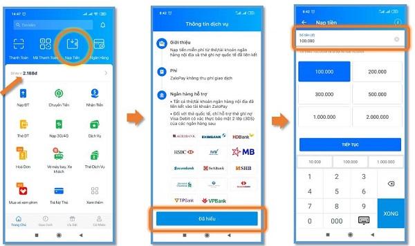 Nạp tiền trực tiếp trên App Zalo Pay