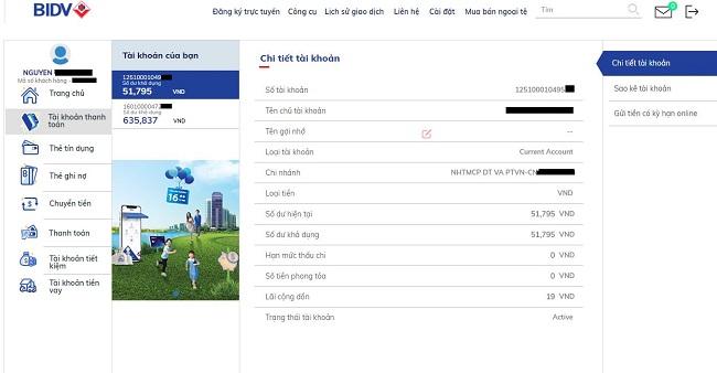 Thông tin số tài khoản của một khách hàng tại BIDV