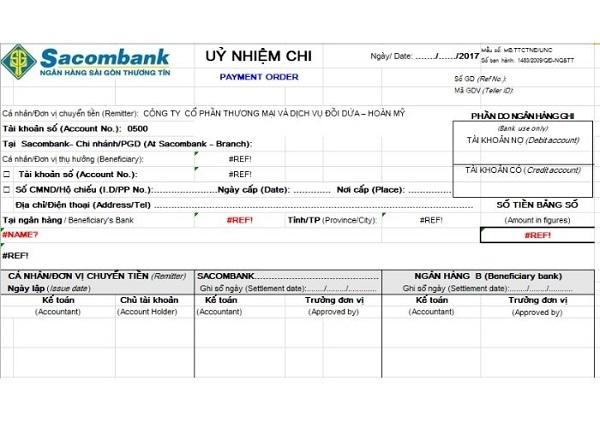 Mẫu ủy nhiệm chi Sacombank
