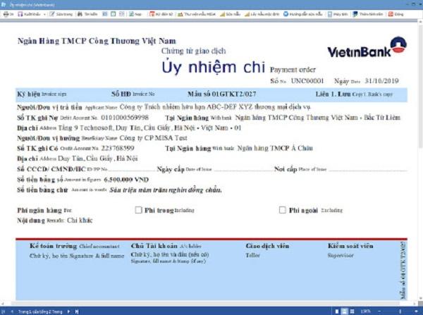 Mẫu ủy nhiệm chi VietinBank