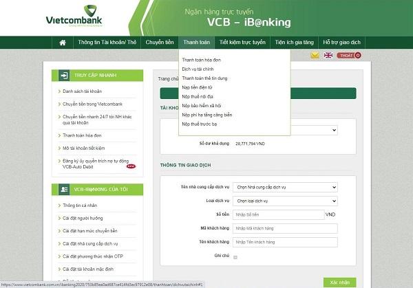Chuyển tiền qua Internet Banking VietcomBank