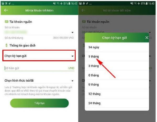 Cách mở tài khoản gửi tiết kiệm Online VietcomBank trên Website