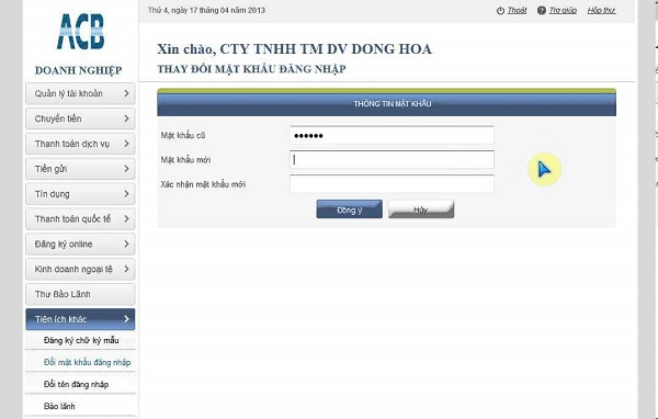 Hướng dẫn cách đổi mật khẩu Online ACB