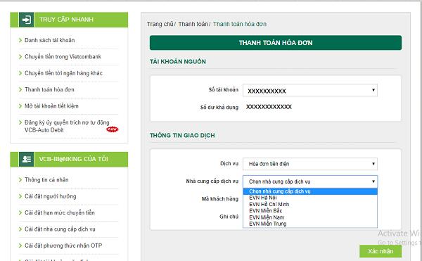 Thanh toán tiền điện trên website