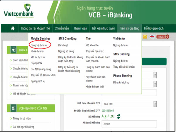đăng ký dịch vụ bankpus vietcombank