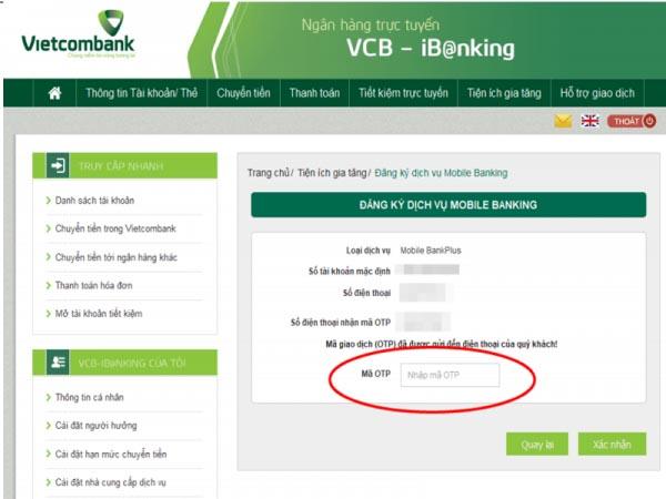 Đăng ký và sử dụng bankplus Vietcombank