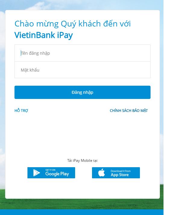 Hướng dẫn cách đăng nhập VietinBank iPay