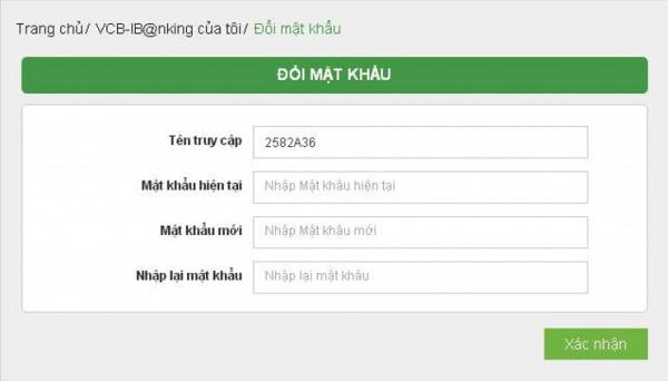 Đổi mật khẩu Internet Banking Vietcombank