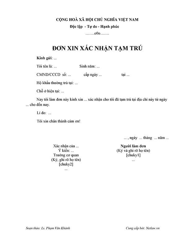 Hồ sơ đăng ký tạm trú KT3