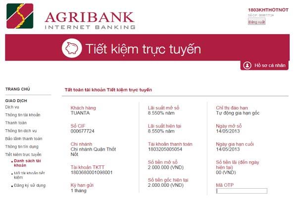 Cách gửi tiết kiệm Online AgriBank