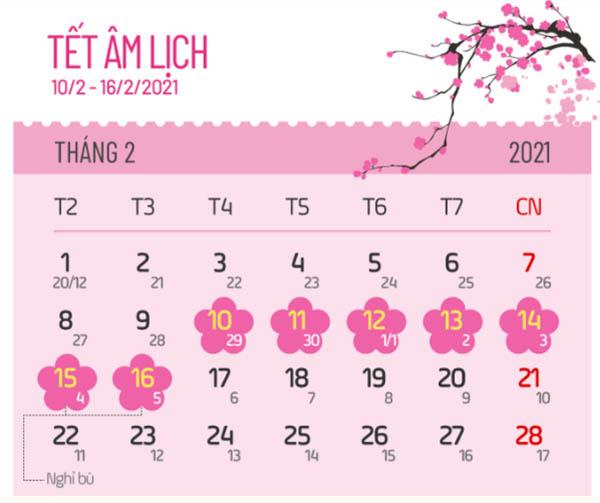 Lịch nghỉ tết âm lịch các ngân hàng 2021