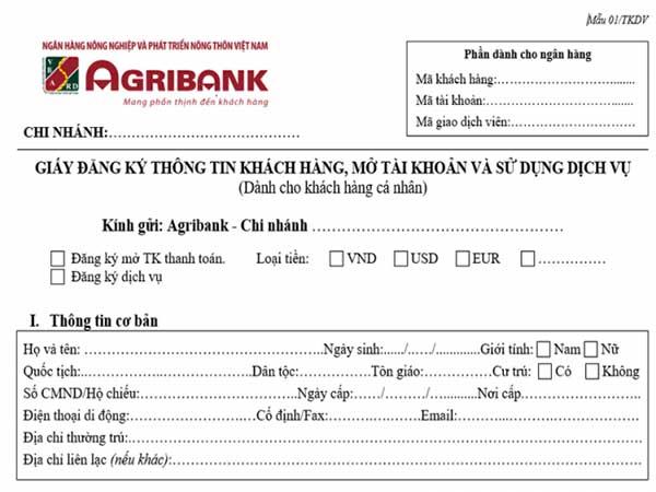 Giấy đăng kí mở thẻ ATM Agribank