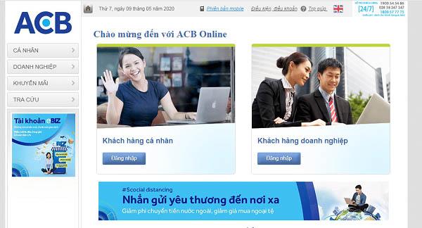 Lấy lại mật khẩu ACB Online qua website