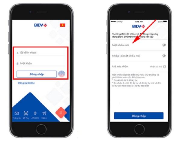 Cách thay đổi mật khẩu mới BIDV Smart Banking