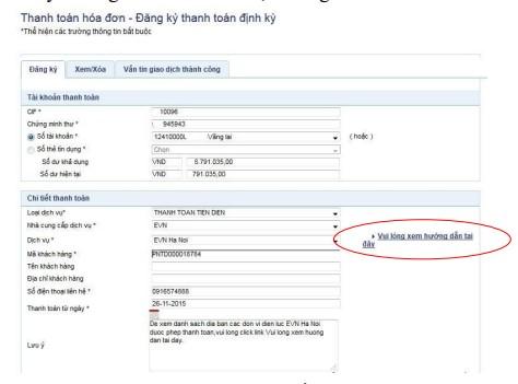 Nhập thông tin thanh toán định kỳ theo yêu cầu