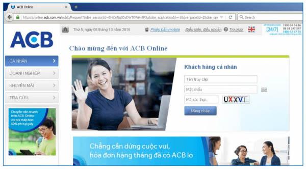 Tra cứu tài khoản quaACB-iBanking