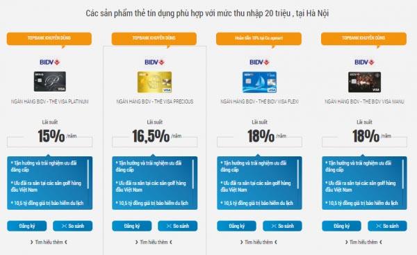 Các loại thẻ Visa ngân hàng BIDV