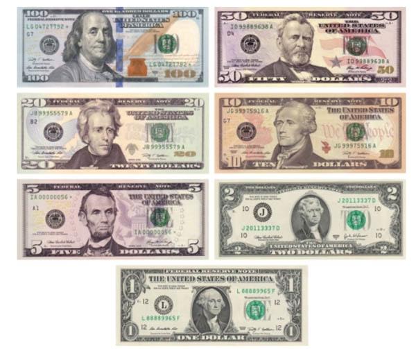 Các mệnh giá đô la Mỹ hiện nay