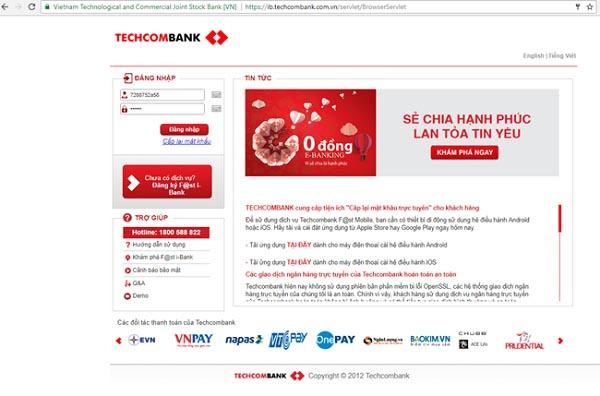 Khóa thẻ TechcomBank qua Internet Banking