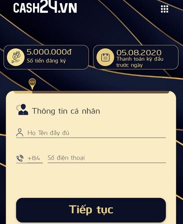 Hướng dẫn cách vay tiền nhanh Online Cash24 lãi suất 0%