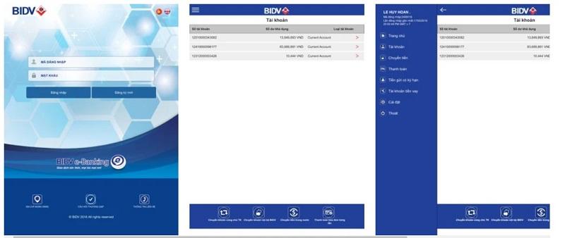 Giao diện ứng dụng BIDV E-Banking