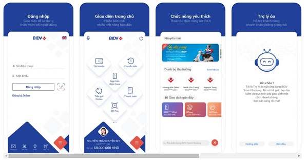 Giao diện ứng dụng BIDV Smart Banking