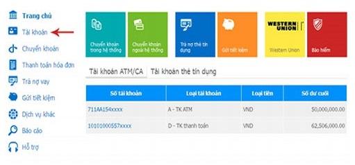 Kiểm tra số tài khoản ngân hàng Vietinbank qua Vietinbank Ipay trên website