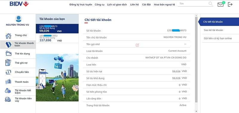 Số tài khoản được thể hiện rõ trong ứng dụng BIDV Online