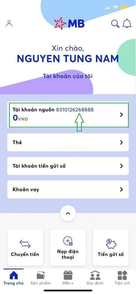 Số tài khoản MBBank của 1 khách hàng xem trong ứng dụng Mobile Banking