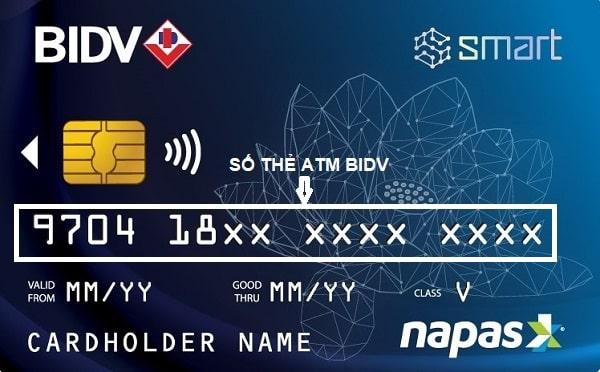 Số thẻ ATM BIDV được in nổi ngay trên thẻ ATM